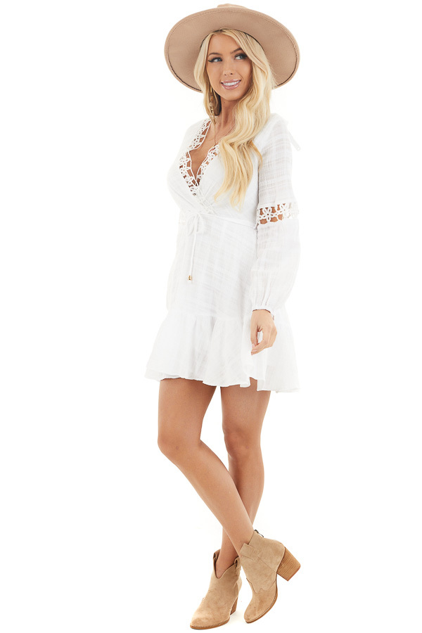 White Long Sleeve Dress with Floral Crochet Detail front full body