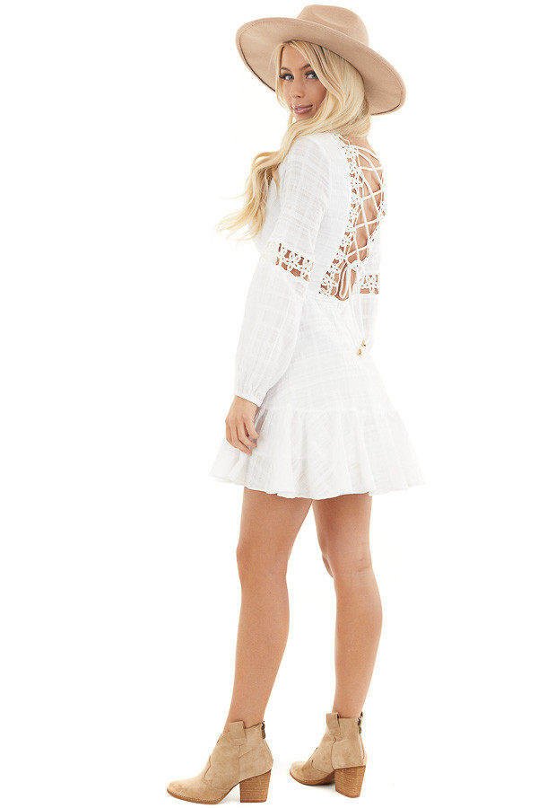 White Long Sleeve Dress with Floral Crochet Detail side full body