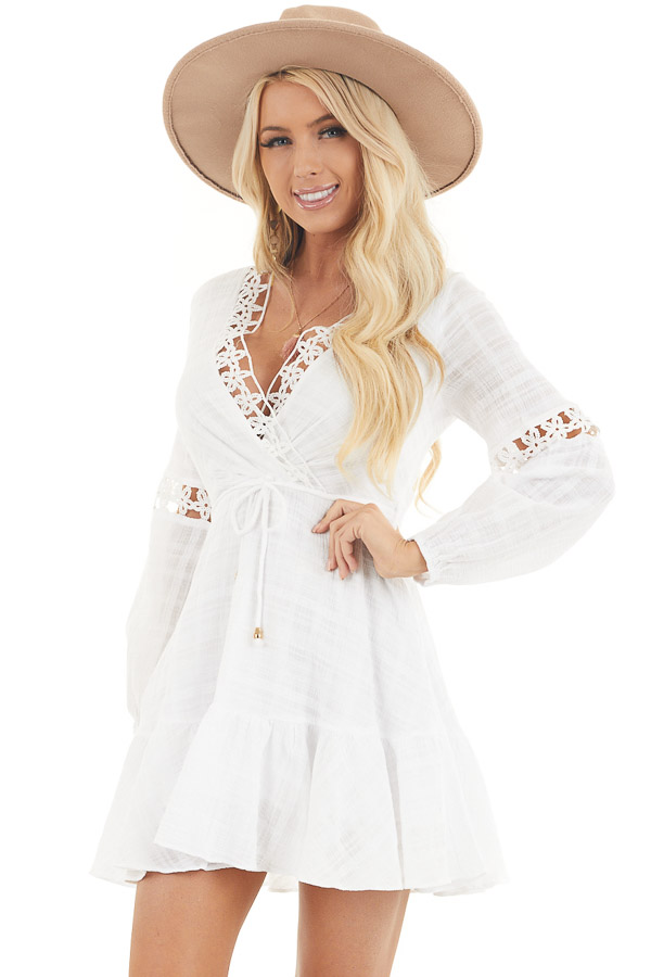 White Long Sleeve Dress with Floral Crochet Detail front close up