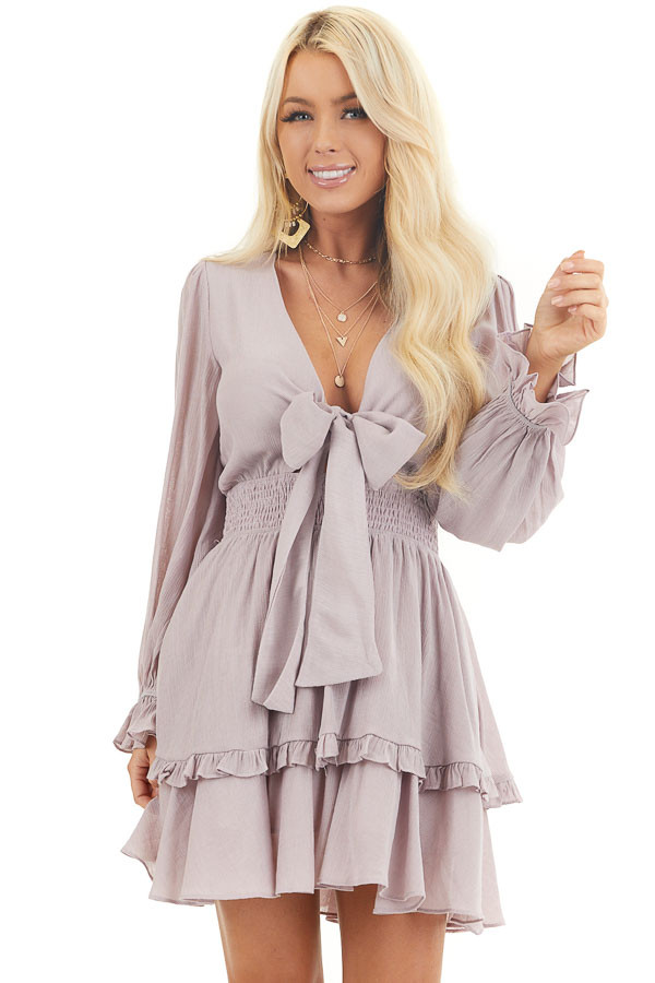 Lavender Long Sleeve Mini Dress with Smocked Waist front close up
