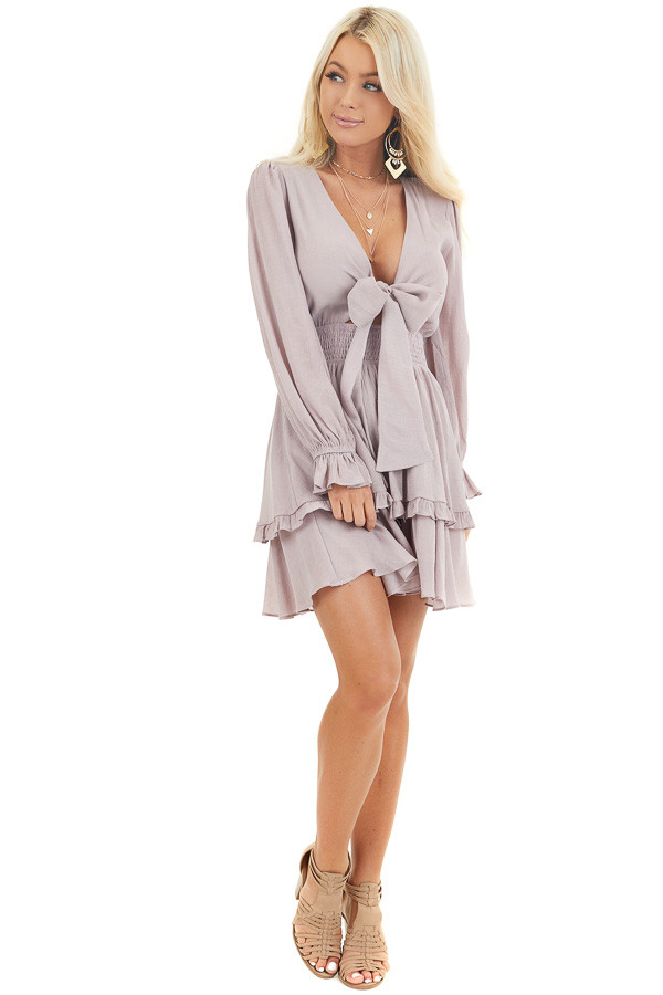 Lavender Long Sleeve Mini Dress with Smocked Waist front full body
