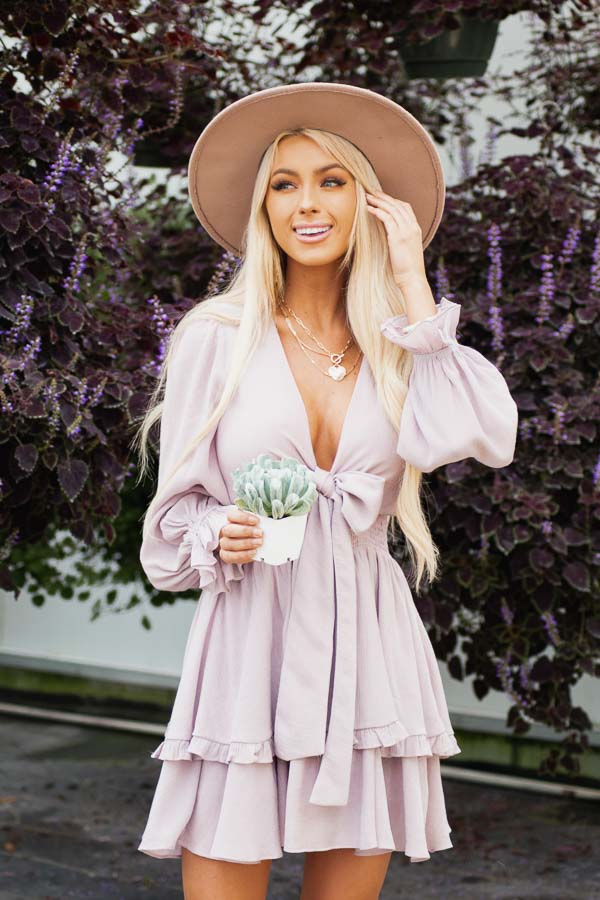 Lavender Long Sleeve Mini Dress with Smocked Waist