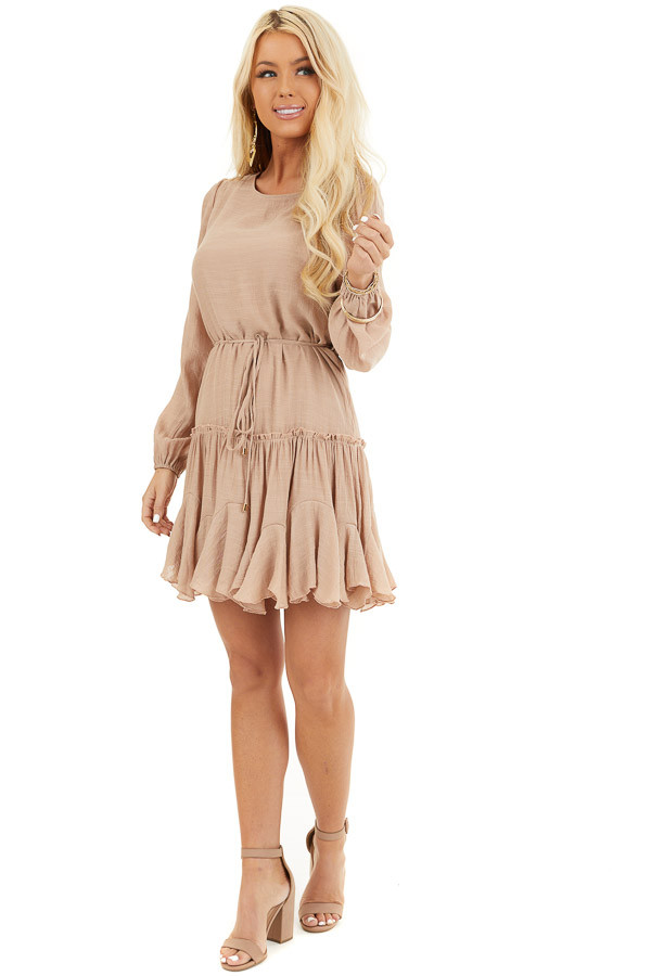 Latte Long Sleeve Dress with Waist Tie Detail and Ruffles front full body