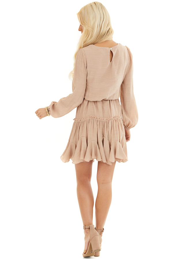 Latte Long Sleeve Dress with Waist Tie Detail and Ruffles back full body