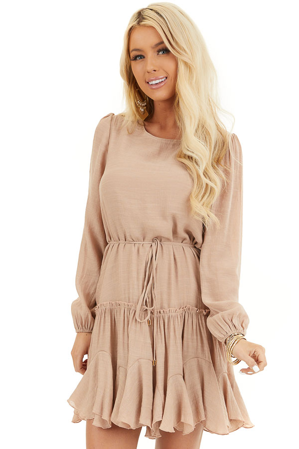Latte Long Sleeve Dress with Waist Tie Detail and Ruffles front close up