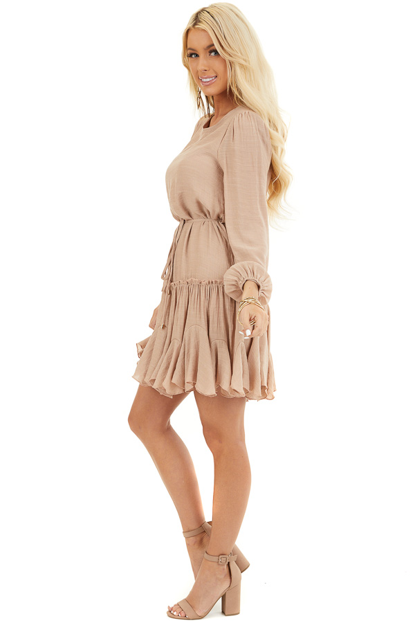 Latte Long Sleeve Dress with Waist Tie Detail and Ruffles side full body