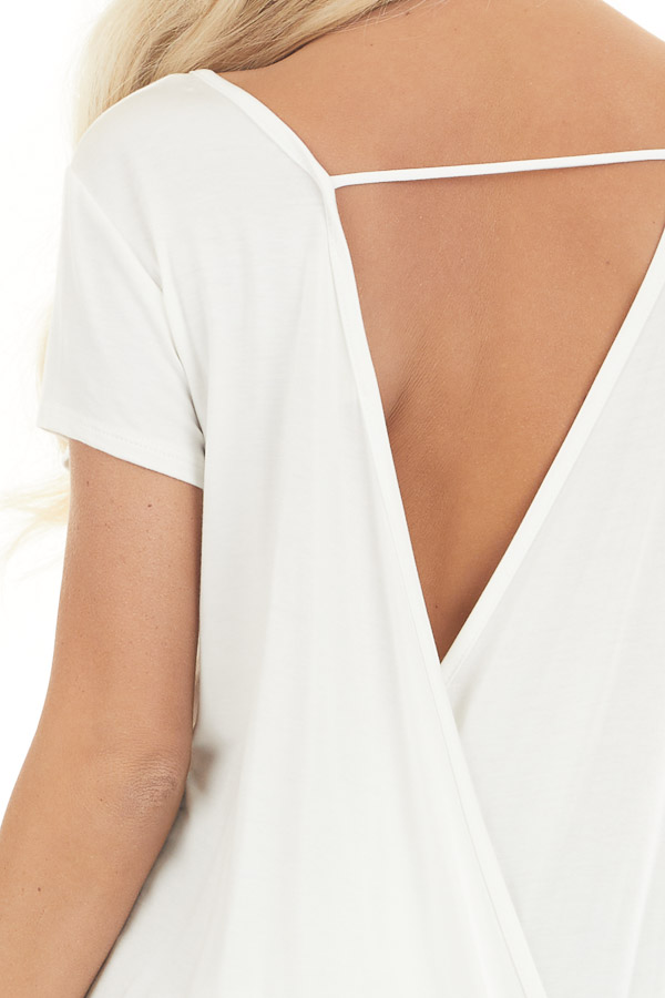 Ivory Short Sleeve Knit Top with Surplice Open Back Drape detail