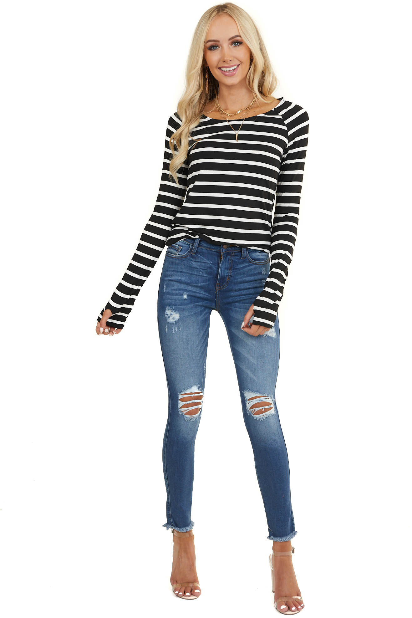 Black and White Striped Long Sleeve Ruched Tunic Top