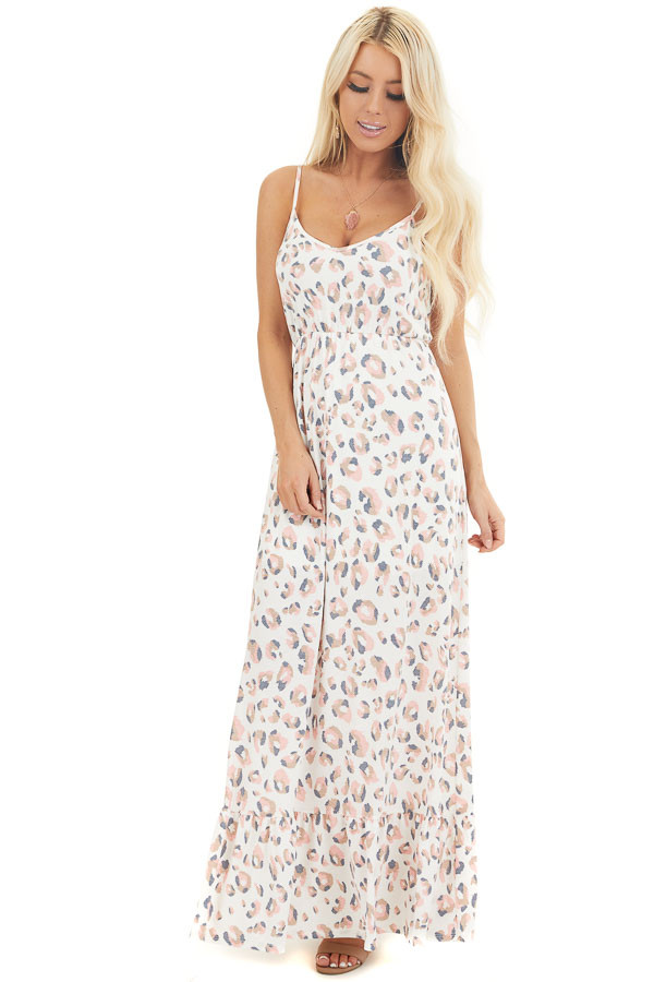 Ivory and Baby Pink Animal Print Spaghetti Strap Maxi Dress  front full body