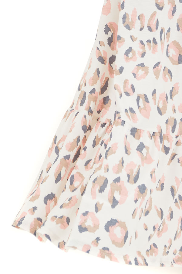 Ivory and Baby Pink Animal Print Spaghetti Strap Maxi Dress detail