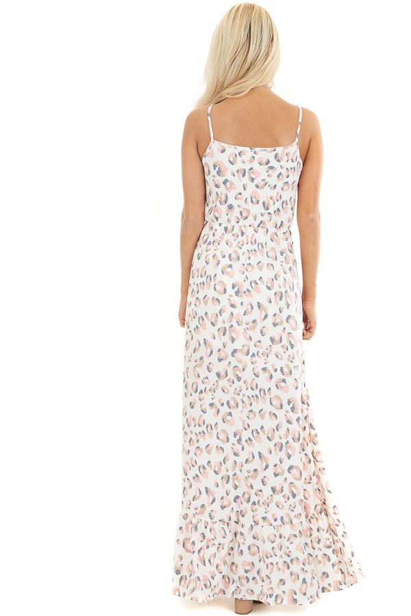 Ivory and Baby Pink Animal Print Spaghetti Strap Maxi Dress  back full body