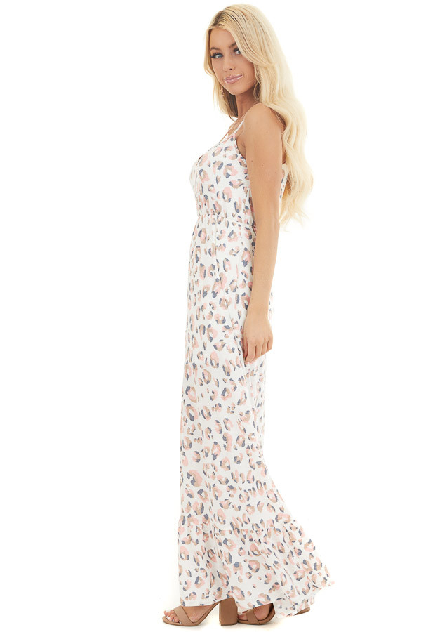 Ivory and Baby Pink Animal Print Spaghetti Strap Maxi Dress  side full body