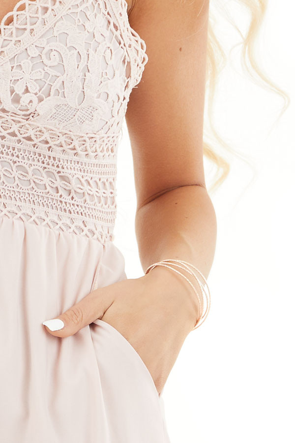 Blush Spaghetti Strap Jumpsuit with Pockets and Lace Detail detail