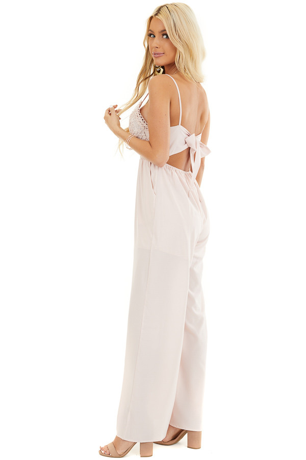 Blush Spaghetti Strap Jumpsuit with Pockets and Lace Detail side full body