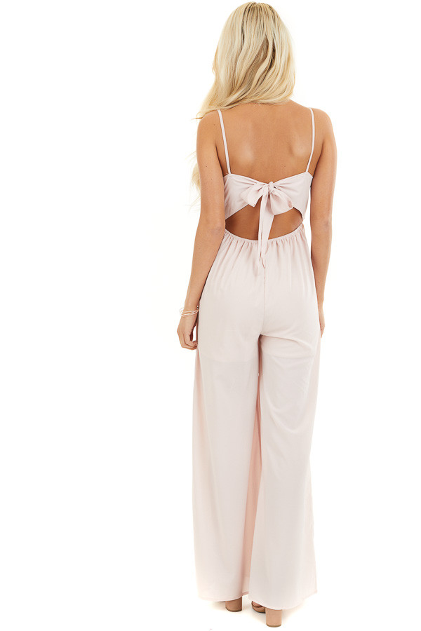 Blush Spaghetti Strap Jumpsuit with Pockets and Lace Detail back full body