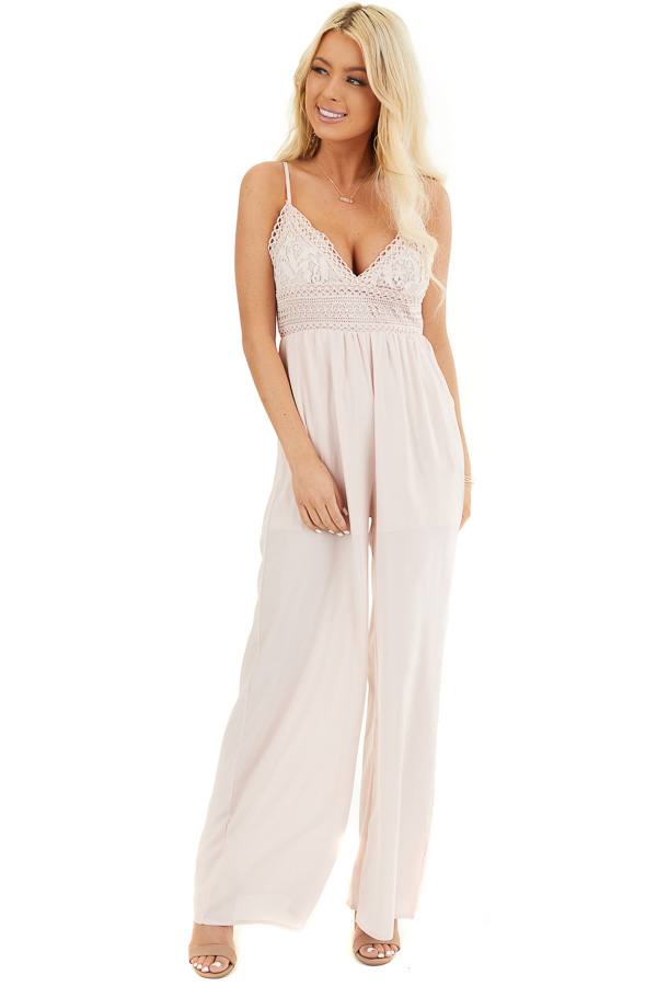 Blush Spaghetti Strap Jumpsuit with Pockets and Lace Detail front full body