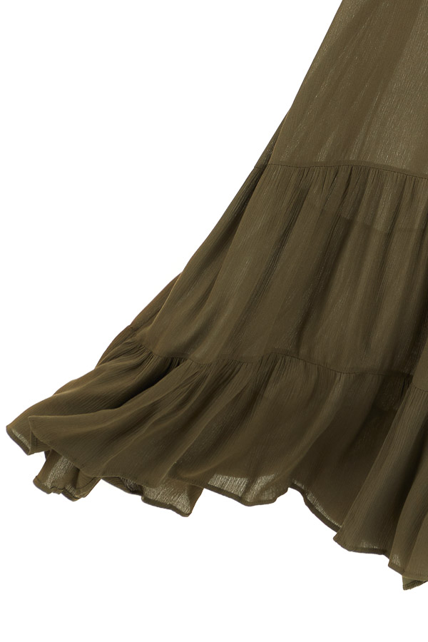 Olive Strapless Maxi Dress with Smocked Bust detail