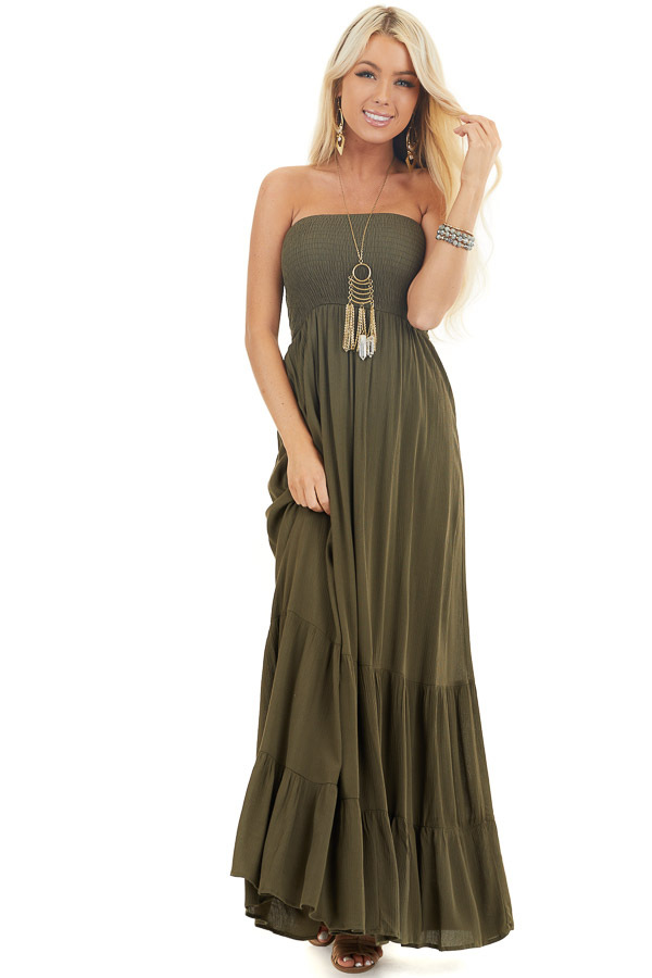 Olive Strapless Maxi Dress with Smocked Bust front full body