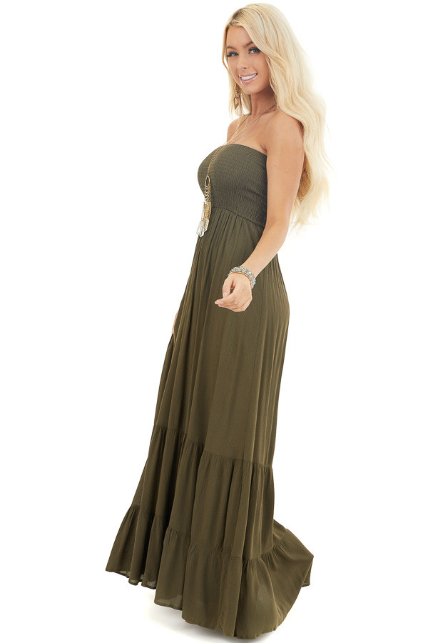 Olive Strapless Maxi Dress with Smocked Bust side full body