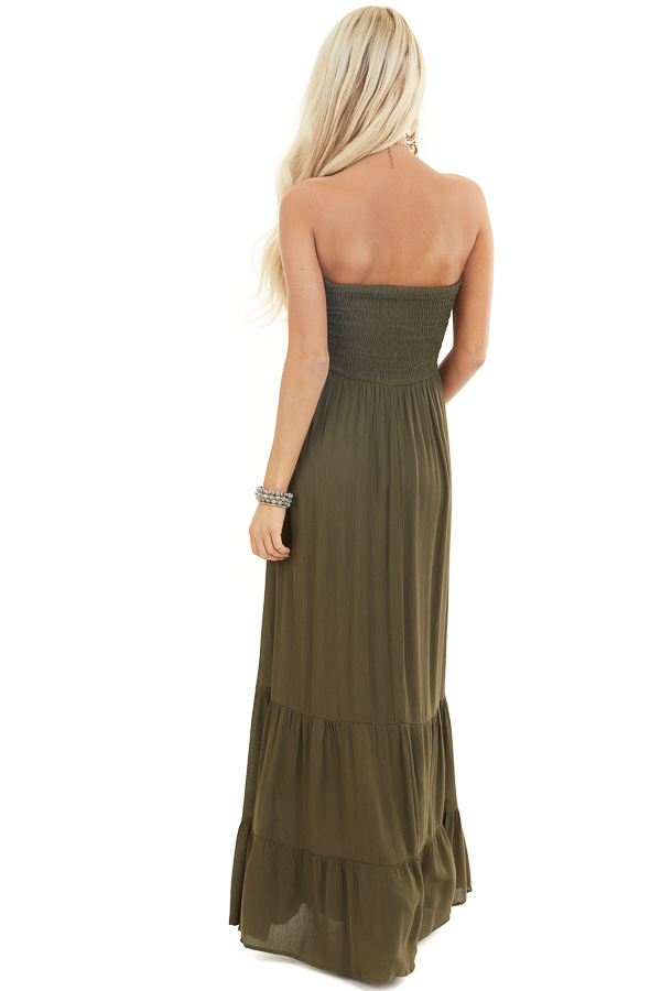 Olive Strapless Maxi Dress with Smocked Bust back full body