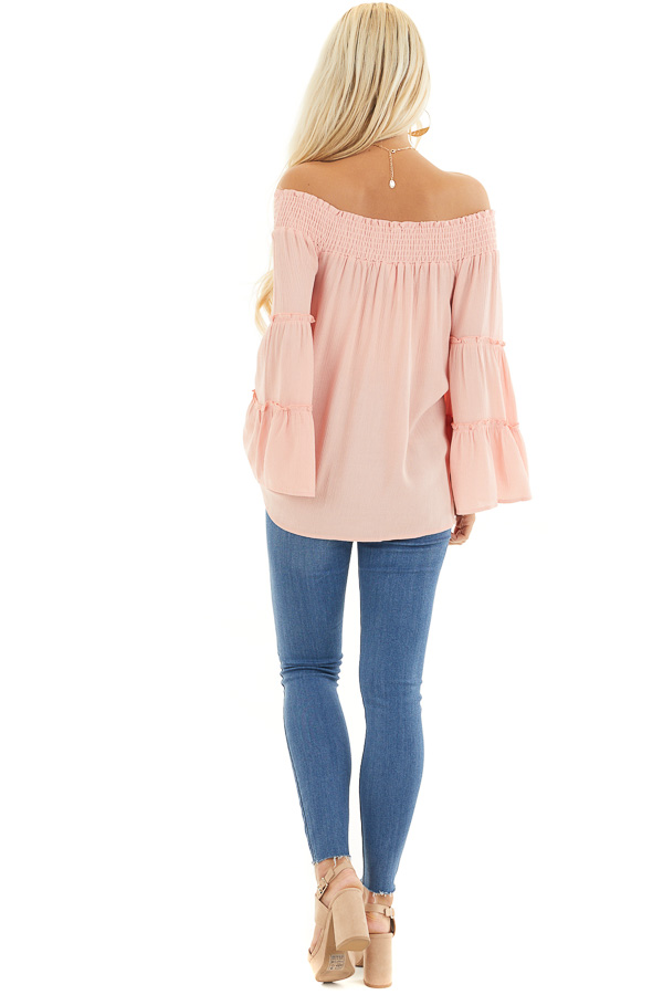 Peach Off the Shoulder Flowy Woven Top with Ruffle Details back full body