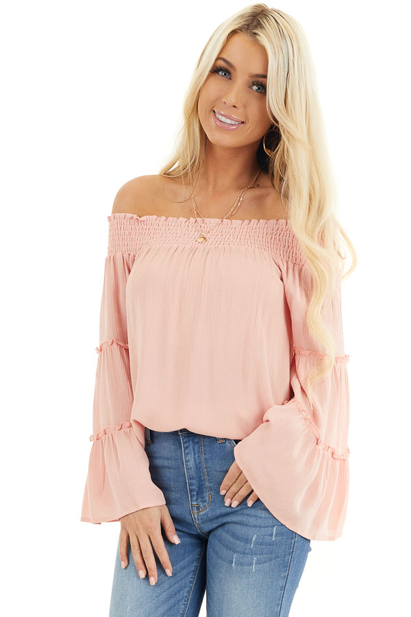 Peach Off the Shoulder Flowy Woven Top with Ruffle Details front close up