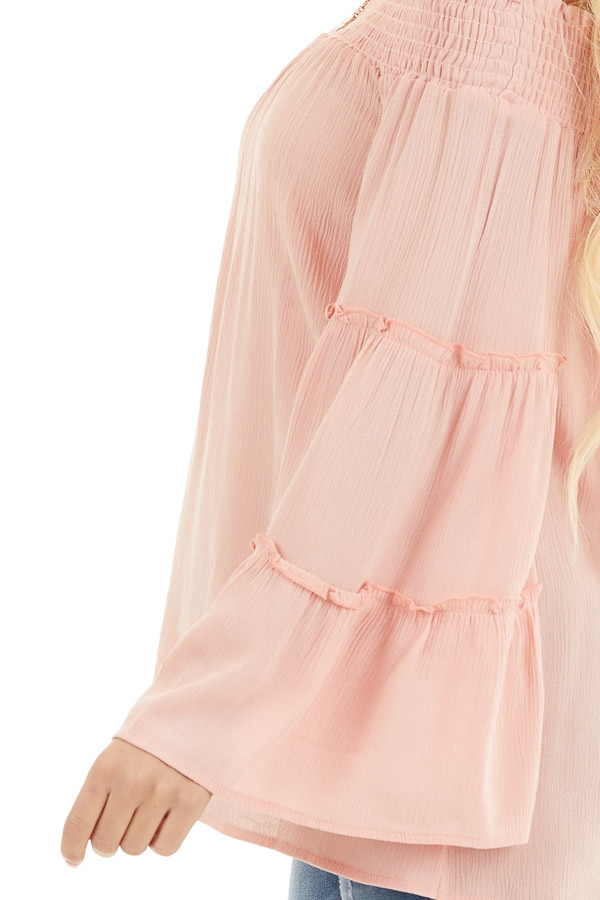 Peach Off the Shoulder Flowy Woven Top with Ruffle Details detail