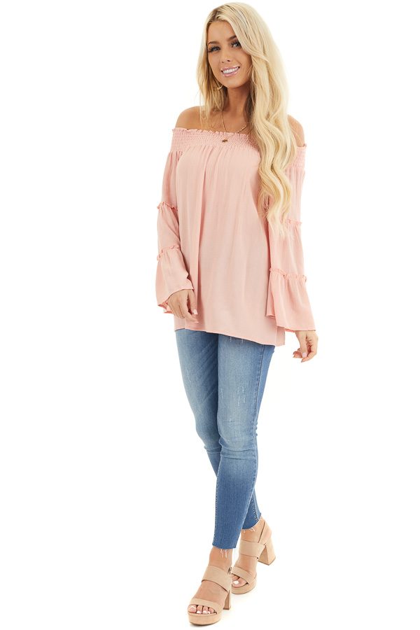 Peach Off the Shoulder Flowy Woven Top with Ruffle Details front full body