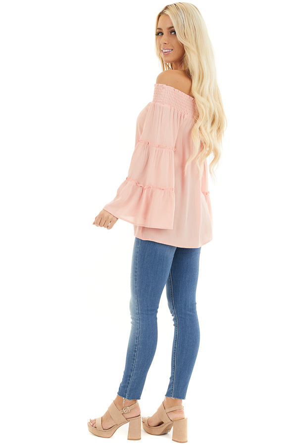 Peach Off the Shoulder Flowy Woven Top with Ruffle Details side full body