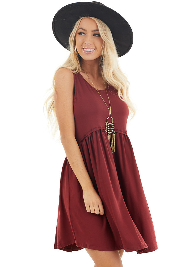 Maroon Babydoll Style Soft Tank Dress front close up