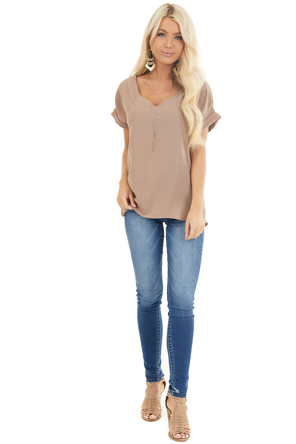 Mocha V Neck Woven Blouse with Cuffed Short Sleeves front full body