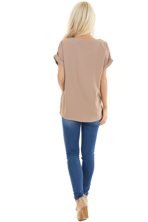 Mocha V Neck Woven Blouse with Cuffed Short Sleeves back full body