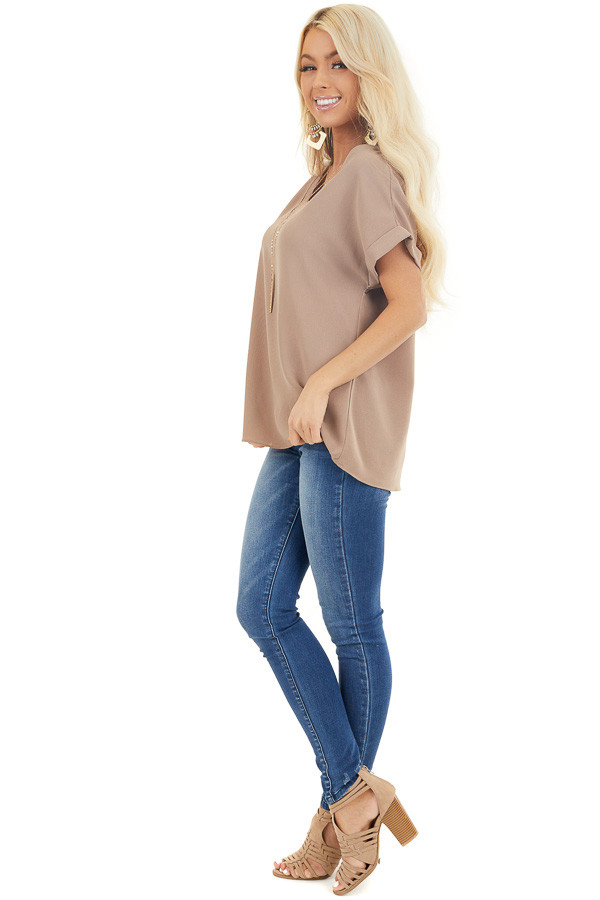Mocha V Neck Woven Blouse with Cuffed Short Sleeves side full body