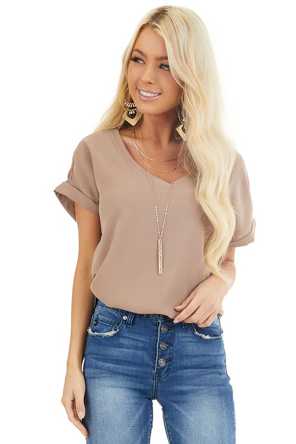 Mocha V Neck Woven Blouse with Cuffed Short Sleeves front close up