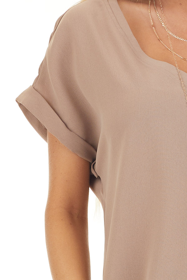 Mocha V Neck Woven Blouse with Cuffed Short Sleeves detail