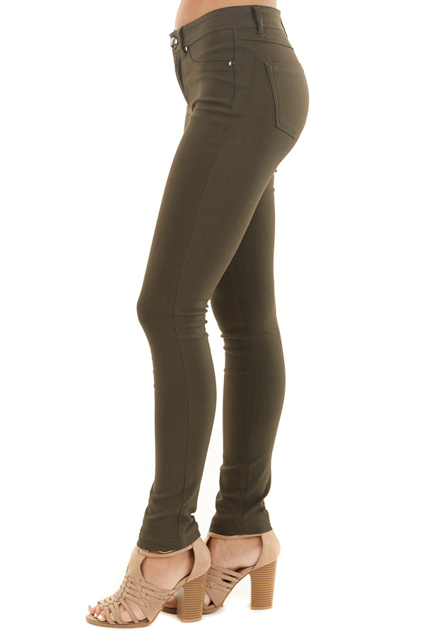 Dark Olive Solid Colored Mid Rise Skinny Jeans side view