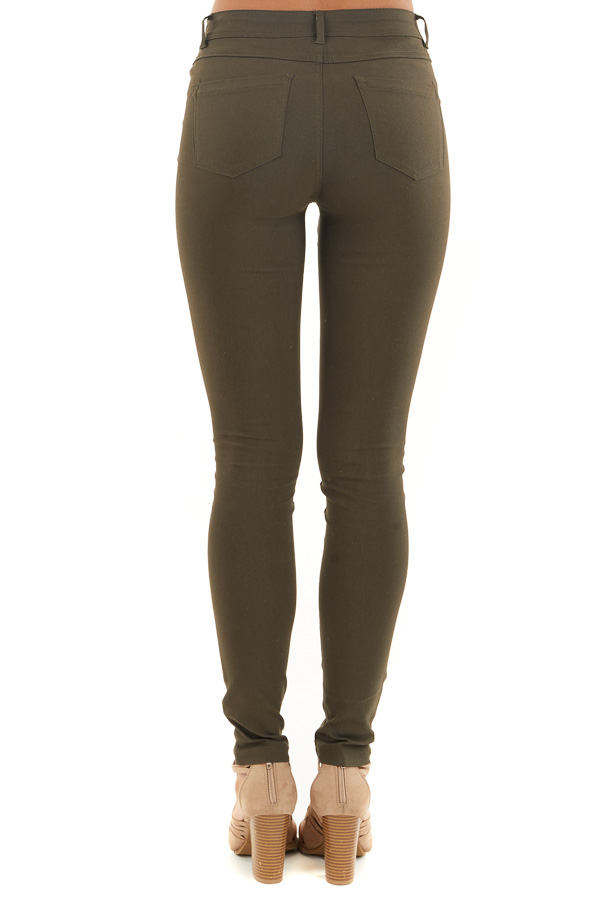 Dark Olive Solid Colored Mid Rise Skinny Jeans back view