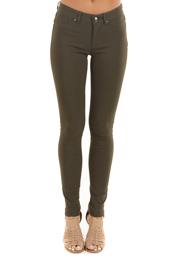 Dark Olive Solid Colored Mid Rise Skinny Jeans front view