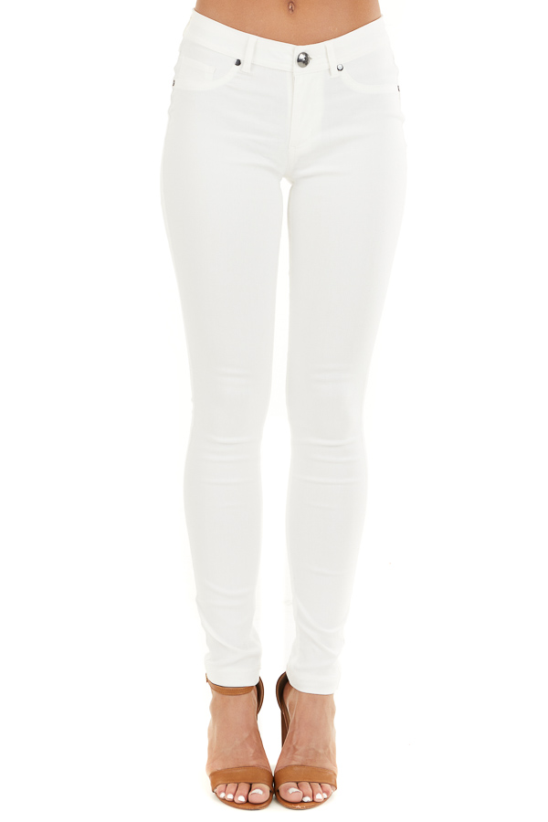 Pearl White Solid Colored Mid Rise Skinny Jeans front view