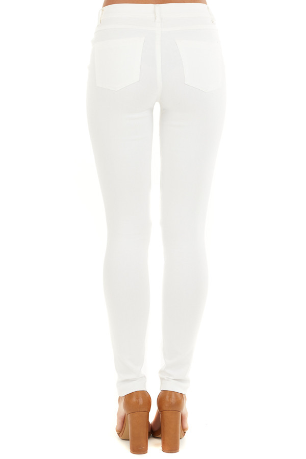 Pearl White Solid Colored Mid Rise Skinny Jeans back view