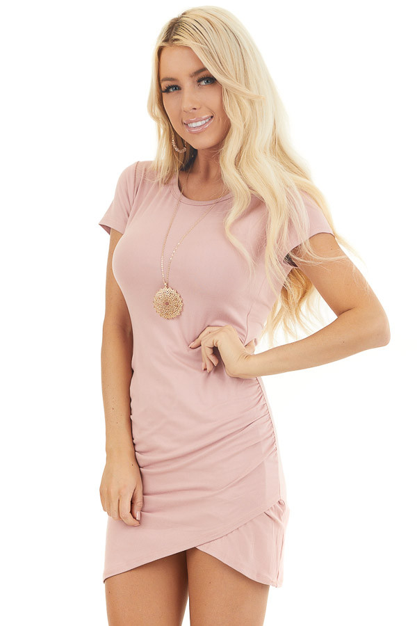 Blush Short Sleeve Mini Dress with Tulip Hemline and Ruching front close up