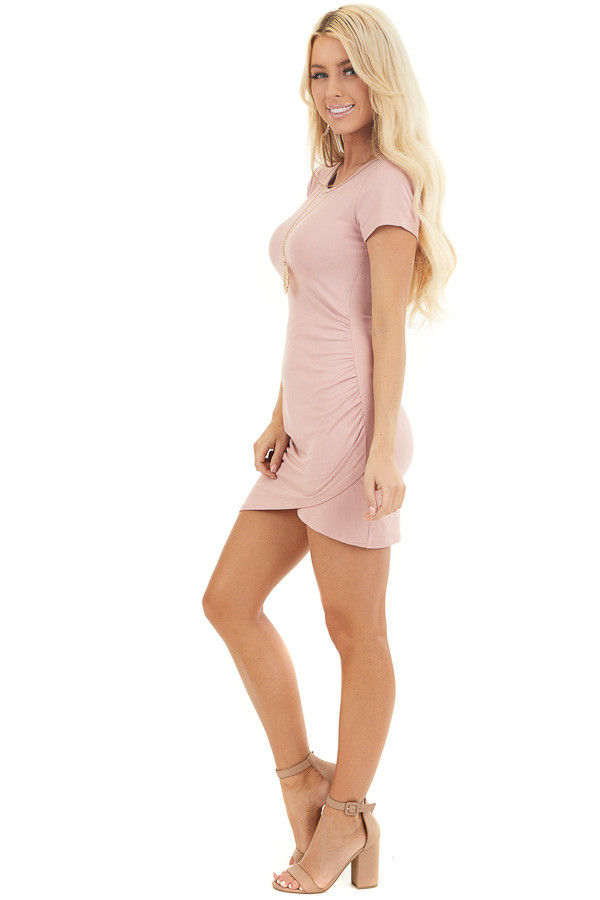 Blush Short Sleeve Mini Dress with Tulip Hemline and Ruching side full body