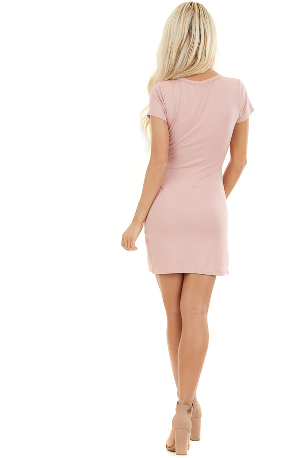 Blush Short Sleeve Mini Dress with Tulip Hemline and Ruching back full body