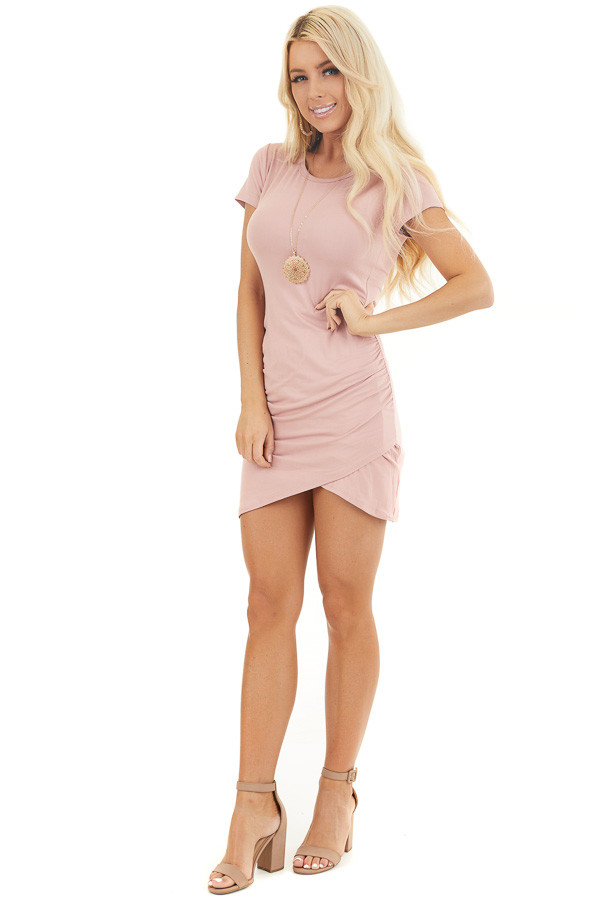 Blush Short Sleeve Mini Dress with Tulip Hemline and Ruching front full body