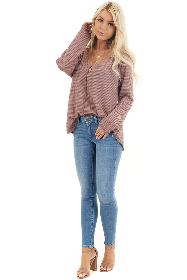 Dusty Mauve Waffle Knit Top with Exposed Stitching front full body
