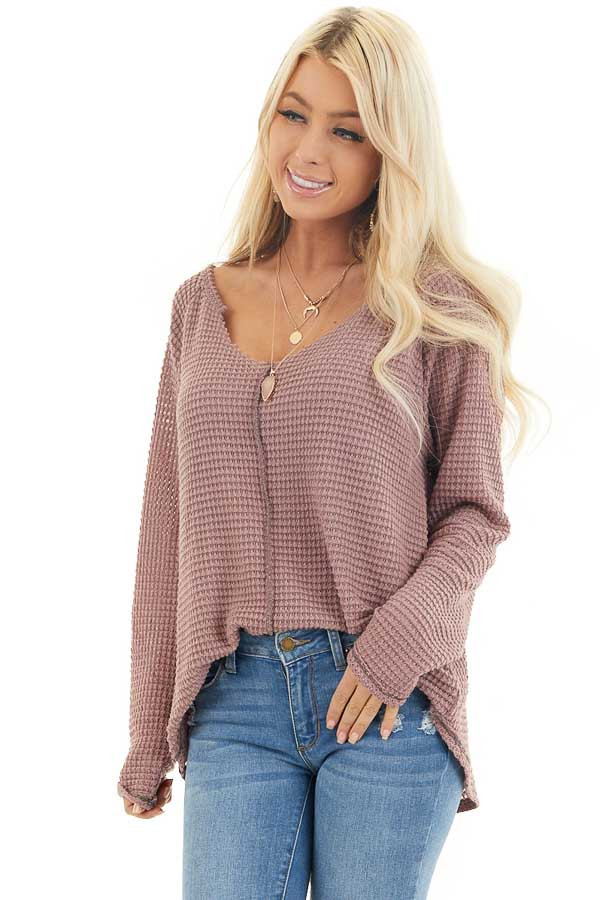 Dusty Mauve Waffle Knit Top with Exposed Stitching front close up