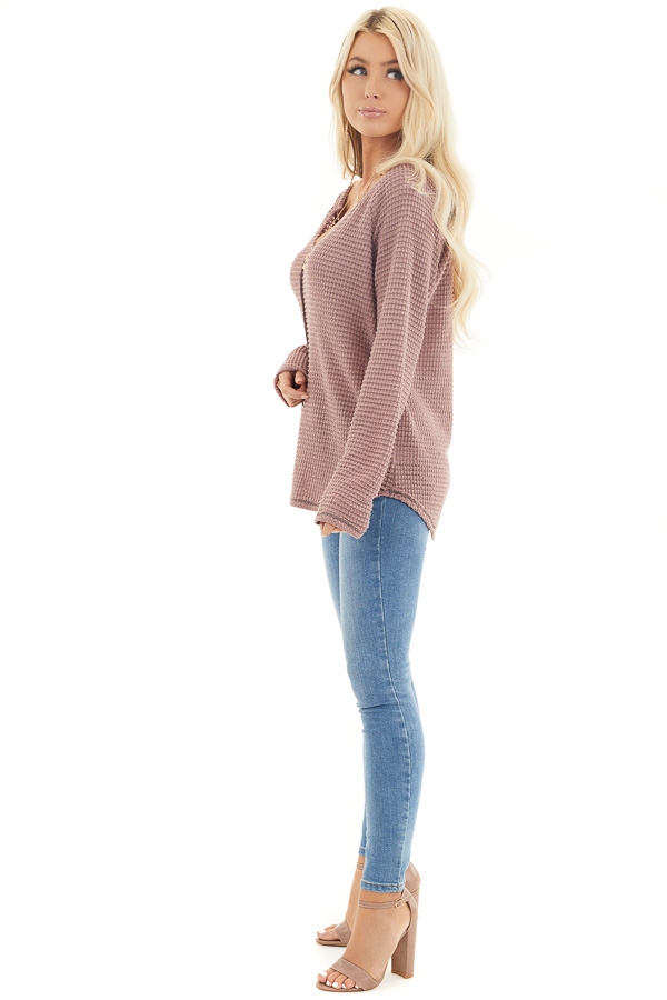 Dusty Mauve Waffle Knit Top with Exposed Stitching side full body