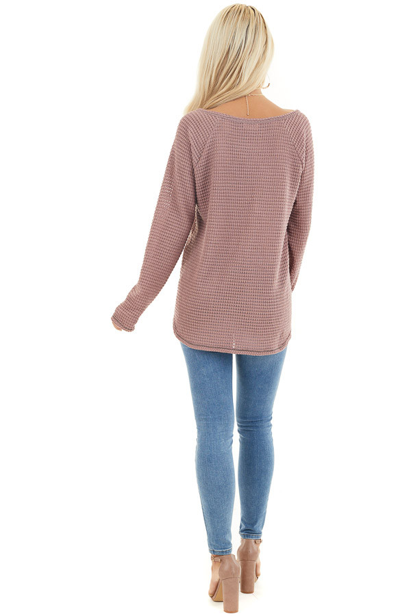 Dusty Mauve Waffle Knit Top with Exposed Stitching back full body