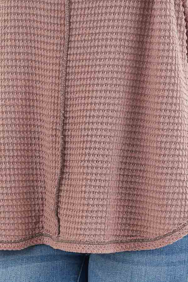 Dusty Mauve Waffle Knit Top with Exposed Stitching detail