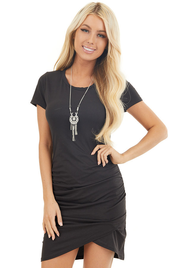 Black Short Sleeve Knit Dress with Side Ruching Detail front close up